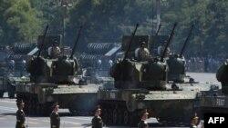 Китайские военные на параде на площади Тяньаньмэнь в Пекине. 3 сентября 2015 года.