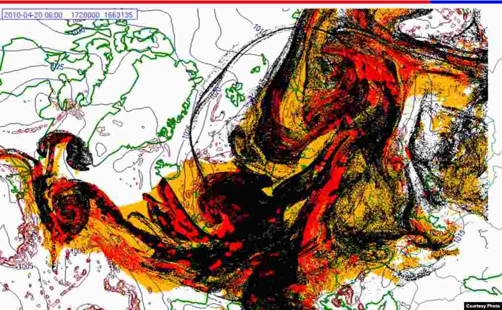 Projected spread of Icelandic ash cloud (20.4. 0600 UTC) - These images show a projection of the movement of the ash clouds from the Iceland volcanic eruption moving over Europe. The colors on the map represent: yellow: ash that has fallen by itself red: ash that has fallen by precipitation black: the actual ash cloud Source: Norwegian Meteorological Institute