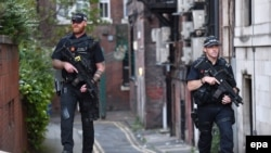 Armed police patrol in central Manchester, May 23, 2017