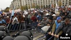 Demonstrația din fața Parlamentului