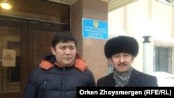 Белсенділер Сәкен Байкенов (сол жақта) пен Мақсат Ілиясұлы. Астана, 28 ақпан 2014 жыл