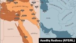 د عثماني سلطنت نقشه په ۱۹۱۵م کال