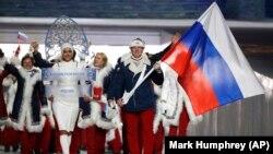 Руски спортисти на отворањето на Зимските олимписки игри во Сочи, Русија, 07.02.2014.