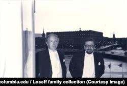 И. Бродский Нобель сыйлыгы тапшырылган күнү досу Л. Лосев менен.