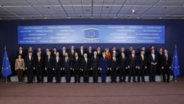 European Union leaders pose for a photo at the EU summit in Brussels on October 18.