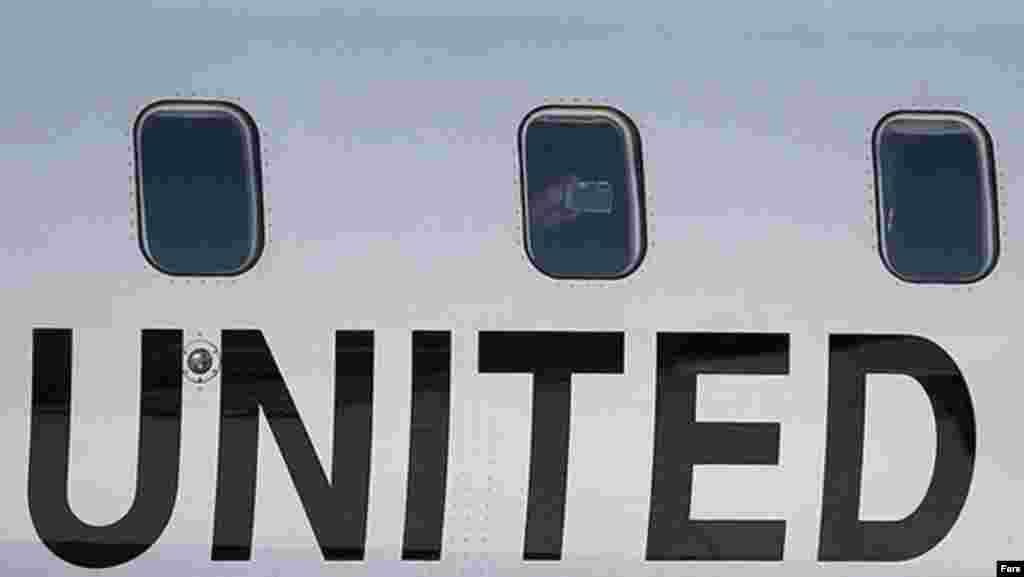 هواپیمای دبیرکل سازمان ملل در فرودگاه مهرآباد