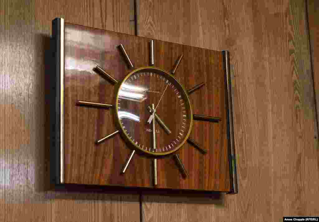 "A Soviet-made clock in an underground meeting room. Kinder says ""the Soviets could take what they wanted [after the U.S.S.R. collapsed] but they didn't take much."""