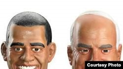 Halloween masks of presidential candidates Barack Obama (left) and John McCain