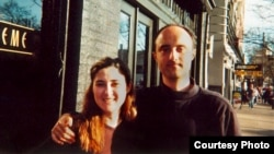 Natalie (left), an immigrant from Bosnia-Herzegovina, poses with her brother in Seattle in 2001.