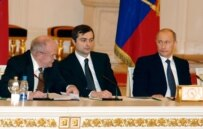 Surkov (center), seen here during a Public Chamber session, is considered a Kremlin ideologue (ITAR TASS)