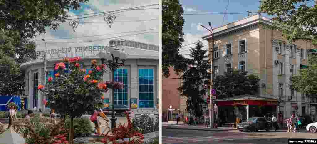 У городского ЦУМа обновленный фасад. Деревья у гостинницы «Украина» вытянулись, и затеняют ее стены