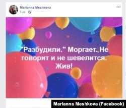 Скриншот со страницы Марианны Мешковой, 2 сентября 2019 года