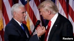 U.S. Vice President Mike Pence (left) will serve as chairman of the National Space Council, which has been revived by President Donald Trump (right)