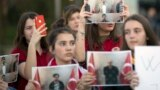 Students of Mehmet Akif College in Kosovo protest the arrest and deportation of their teachers.