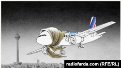 "Karikatira ""Air Fance u Iranu"" Šahroh Heidarija, 4. april 2016"
