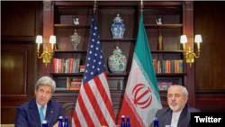 John Kerry speaking at a meeting with Iran's foreign minister, Mohammad Javad Zarif.