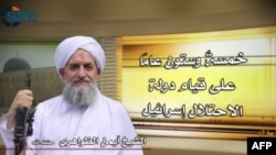 A video grab shows an image of Al-Qaeda leader Ayman al-Zawahiri.