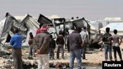 Հորդանան - սիրիացի փախստականները Մաֆրաք քաղաքում իրավապահների հետ բախումից հետո, 6-ը ապրիլի, 2014թ․