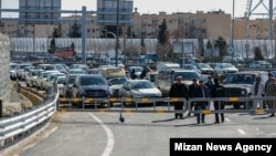 Vehicles waiting for the trial-opening of the long-awaited Tehran-North freeway on Wednesday, February 12, 2020.