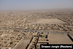 An aerial view shows the border-crossing town of Chaman in Pakistan.