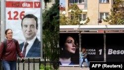 Pano me portrete të Albin Kurti dhe Vjosa Osmanit.