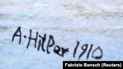 Підпис на картині, що могла належати німецькому диктатору Адольфу Гітлеру і виставлялася на продаж в аукціонному домі Kloos у Берліні на початку цього року, стартова ціна лота складала 4 тисячі євро