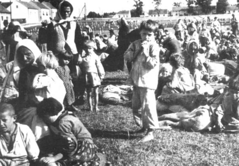 Djeca sa Kozare na stočnoj pijaci okružena žičanom ogradom, Grubišno Polje, ljeto 1942.