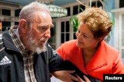 Дилма Русеф с Фиделем Кастро в Гаване. Январь 2014 года