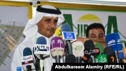 امين سر الإتحاد القطري لكرة القدم سعود المهندي يتحدث في البصرة.
