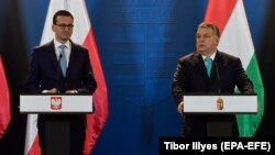 The governments of Polish Prime Minister Mateusz Morawiecki (left) and Hungarian Prime Minister Viktor Orban could face EU pressure.