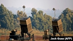 An Iron Dome defence system, designed to intercept and destroy incoming short-range rockets and artillery shells, is deployed in the southern Israeli town of Sderot, November 12, 2018