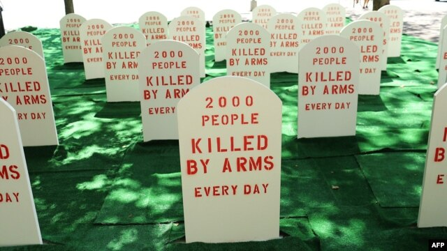 A mock graveyard is erected opposite the United Nations in New York last year to protest against the fact that many are killed by arms everyday around the world. (file photo)