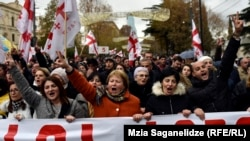 GEORGIA -- Protesters march to support Georgian former President Mikheil Saakashvili in Tbilisi. Tbilisi, 06Dec2017