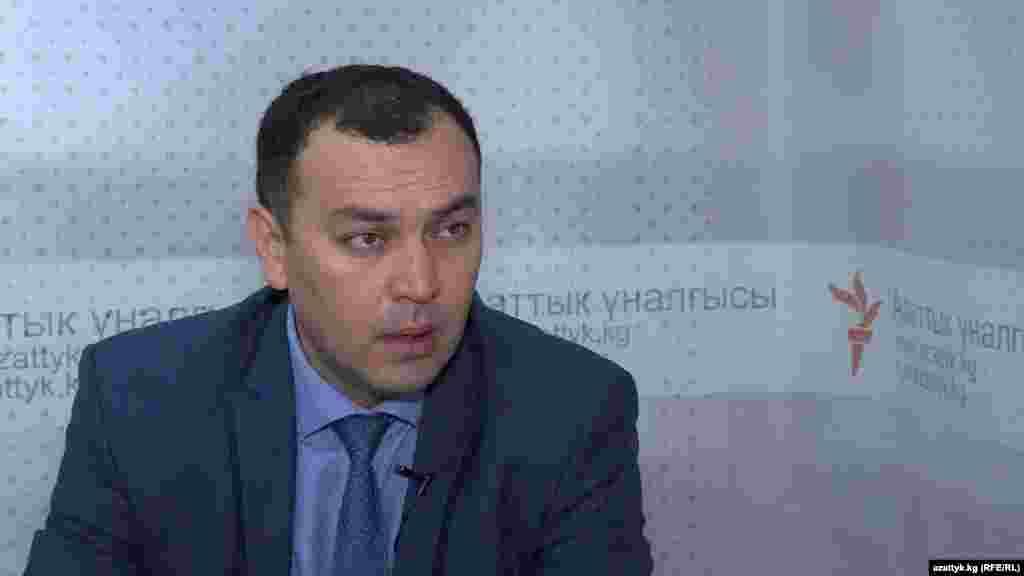 Темир Джумакадыров в студии «Азаттыка».