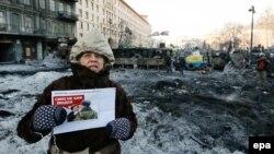Протестующие на улице Грушевского в Киеве