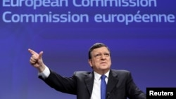 European Commission President Jose Manuel Barroso at a news conference on Ukraine last week at the EC headquarters in Brussels