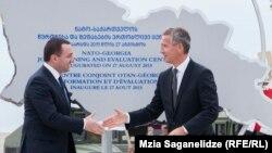 Гарибашвили и Столтенберг сдернули покрывало с баннера, который повторяет очертания географической карты Грузии. На нем написано: «Совместный учебно-оценочный центр НАТО-Грузия. Учрежден 27 августа 2015 г.»