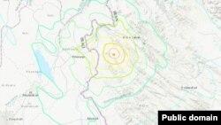 АҚШ геологиялық қызметі таратқан Иранның батысында жер сілкінген аймақтың картасы.