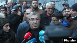 Armenia -- Businessman Ruben Hayrapetian speaks to journalists after being released by police, Yerevan, February 4, 2020.
