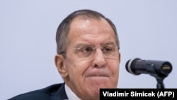 Russian Foreign Minister Sergei Lavrov attends a press conference after the 24th Ministerial Council of the OSCE in Vienna on December 8.