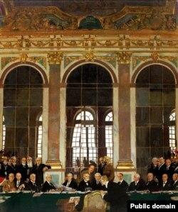 """""""Подписание мира в Зеркальном зале"""". Фрагмент картины Уильяма Орпена (1919)"""