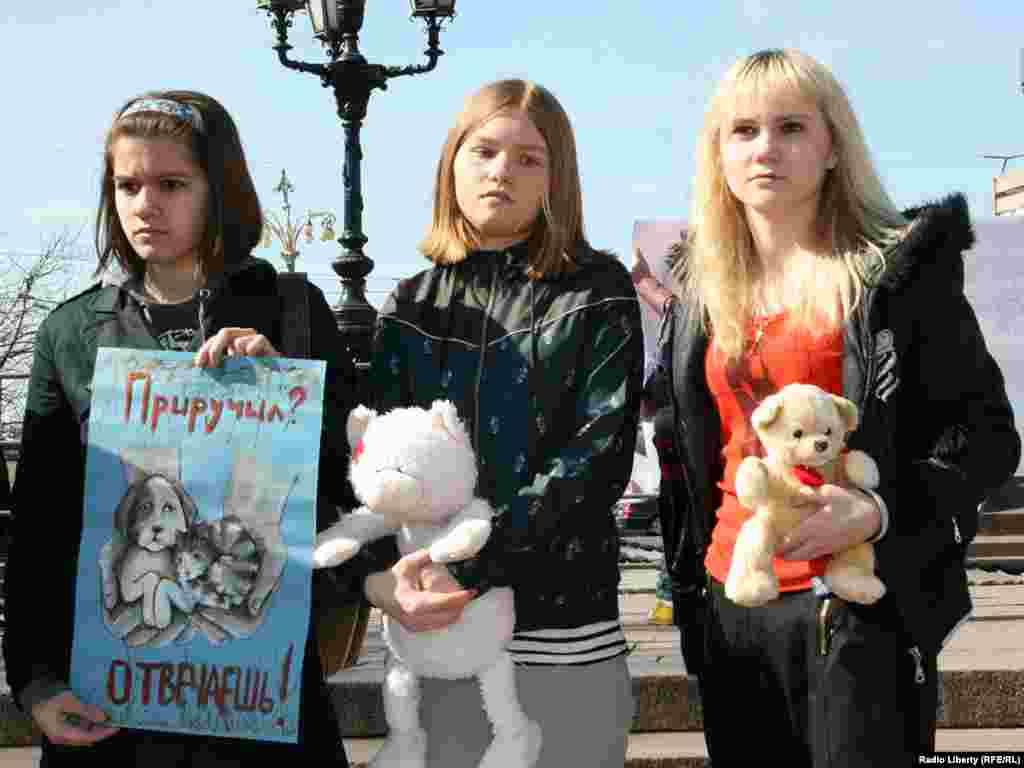 """Поводом для акции стало рассмотрение Госдумой законопроекта """"Об ответственном обращении с животными""""."""
