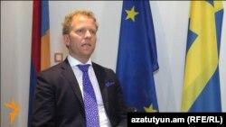 Armenia - Marten Ehnberg, Sweden's charge d'affaires in Armenia, is interviewed by RFE/RL's Armenian service, Yerevan, 12May2015.