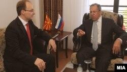 Лавров во Охрид, април 2011.На средба со тогашниот министер за надворешни работи Антонио Милошоски.