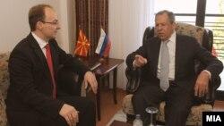 Министрите за надворешни работи на Македонија и на Русија, Антонио Милошоски и Сергеј Лавров на средба во Охрид.