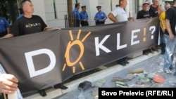 Mještani Beransela protestovali su ispred Vlade Crne Gore u Podgorici 19. jula 2012.