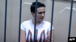 Detained Ukrainian pilot Nadezhda Savchenko in a Moscow court on November 11