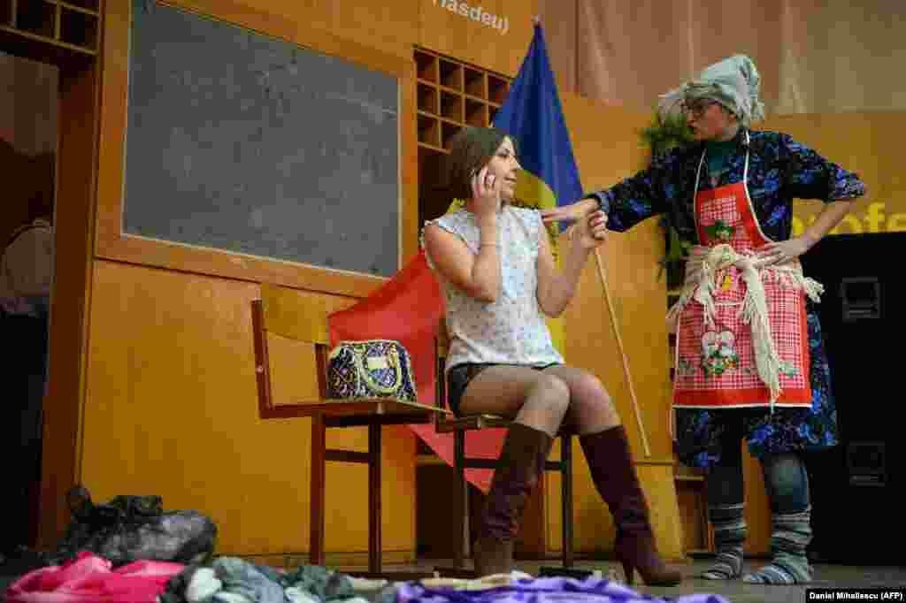 Actors perform a short play about human trafficking at a high school in Drochia.