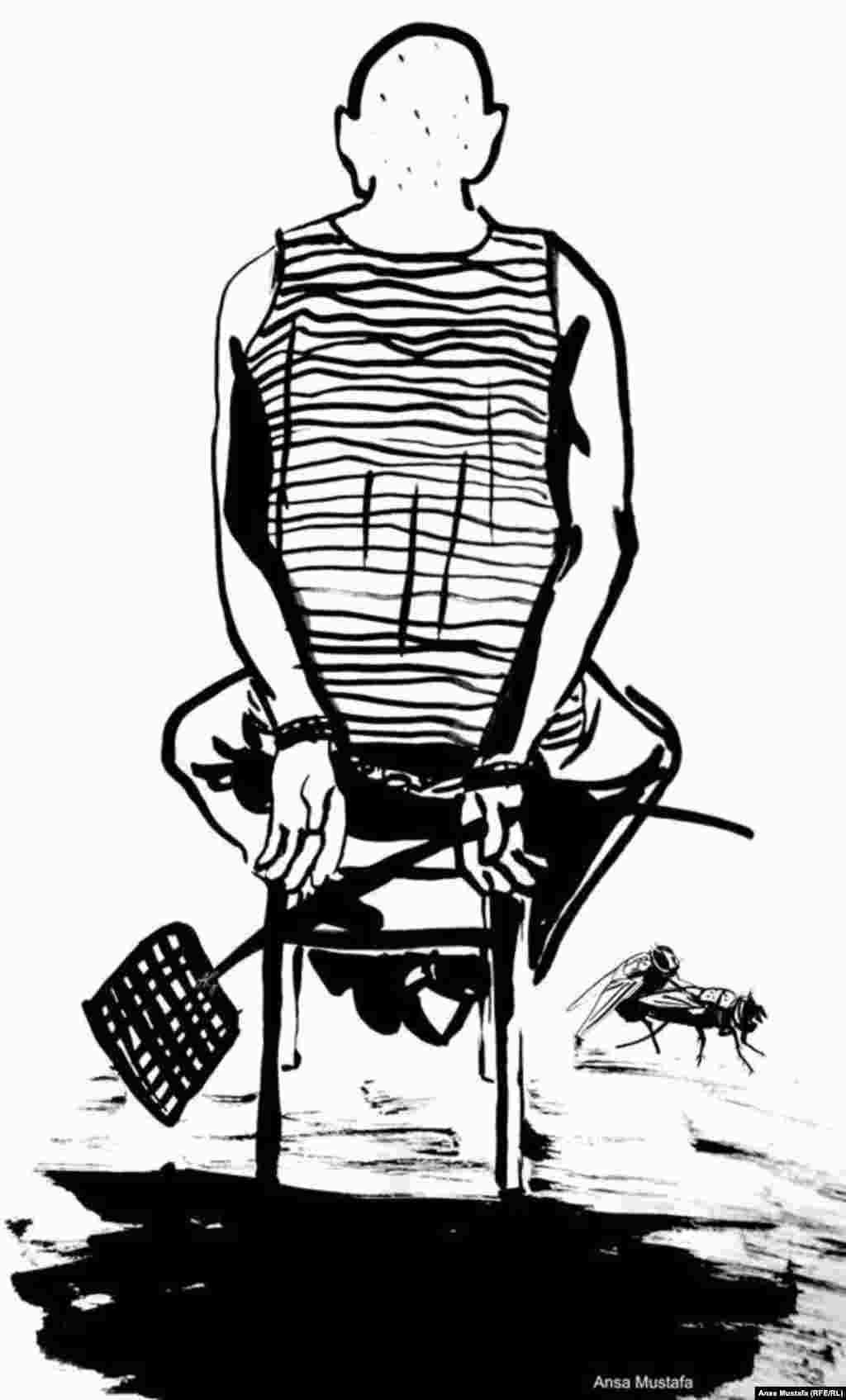 """""""Бессилие перед мухой"""" Карагандинский адвокат Евгений Танков, в шутку вызвавший судью во время процесса на """"дуэль на мухобойках"""", в июле этого года был приговорен к трем годам тюрьмы по обвинению в """"угрозе или насильственных действиях в связи с осуществлением правосудия и в неуважении к суду""""."""