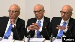 A composite photo of News Corporation Chief Executive and Chairman Rupert Murdoch giving evidence at the Leveson inquiry.